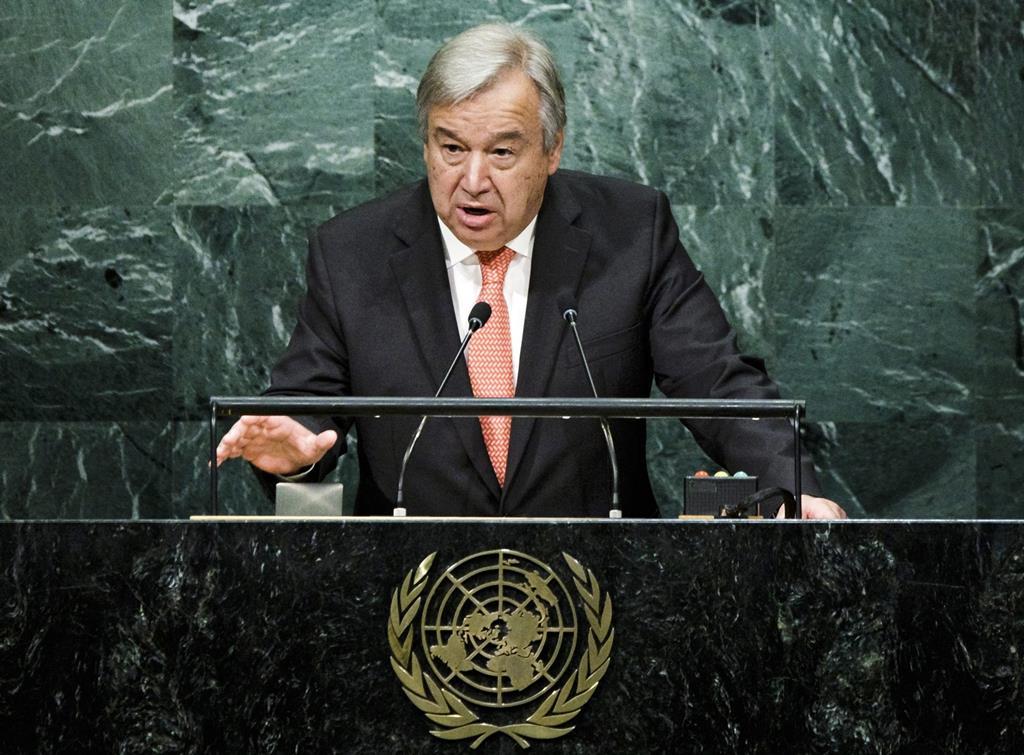 António Guterres fala na assembleia geral da ONU. Foto: Justin Lane/EPA