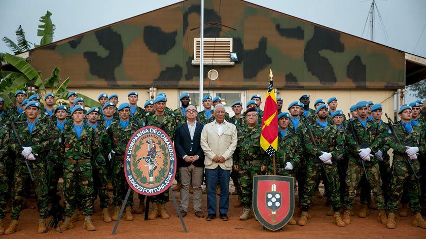 A força portuguesa aquando da visita do ministro Azeredo Lopes. Companhia pode ser aumentada para batalhão, diz fonte militar. Foto: Paulo Henriques/Lusa