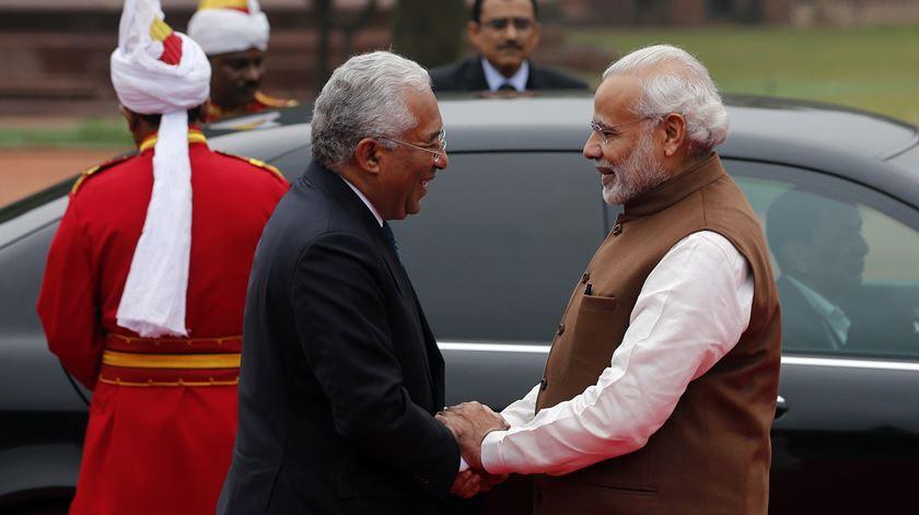António Costa na Índia, recebido pelo primeiro-ministro Narenda Modi, que pode agora vir a retribuir a visita. Foto: Tiago Petinga/Lusa