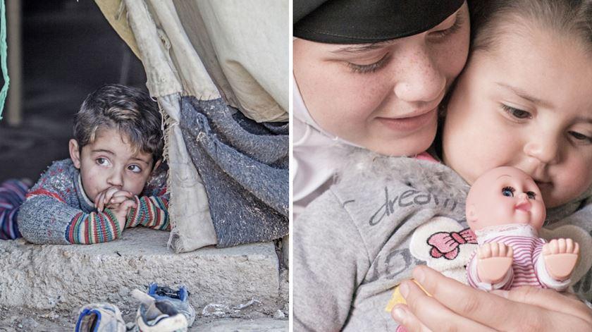 À esquerda: Hakim (três anos) no campo de refugiados de Domiz, no Curdistão iraquiano. À direita: Qamar (13 anos) com a sua filha Raneem, de um ano, em Ramtha, Jordânia. Fotos: UNICEF