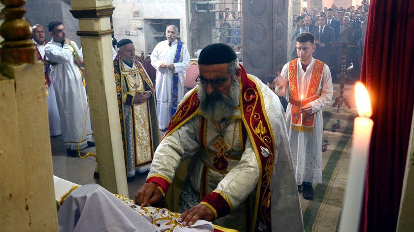 Celebração cristã oriental na Síria. Autoridades temem um êxodo. Foto: Omar Alhayali/EPA