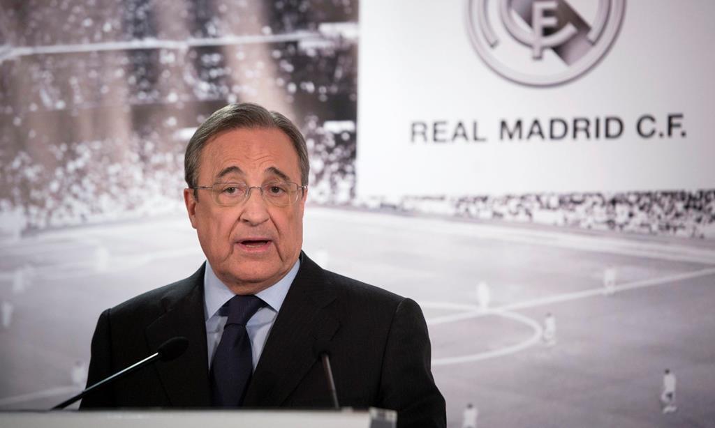 Florentino Pérez é o presidente da Superliga Europeia. Foto: Luca Piergiovanni/EPA