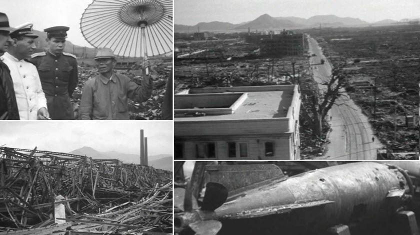Imagens da destruição causada em Hiroxima e Nagasáqui. Foto: DR