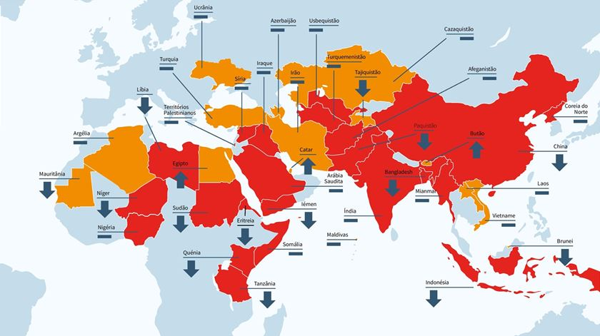 CLIQUE PARA VER MAIOR. O mapa da liberdade religiosa elaborado pela Fundação AIS.