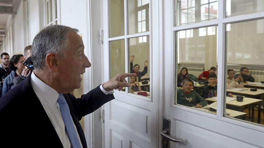 Marcelo visitou a Escola Rodrigues de Freitas, no Porto. Foto: José Coelho/Lusa