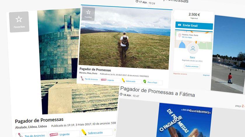 Vários pagadores de promessas apostam em colocar anúncios em sites de classificados. Imagem: RR