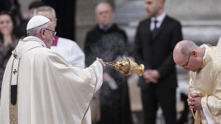 Papa Francisco na missa de ordenação de dois novos bispos, em Roma. Foto: Giuseppe Lami/EPA