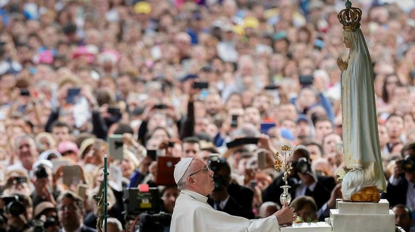 Papa Francisco em Fátima, a 12 de Maio do ano passado. Foto: Lusa