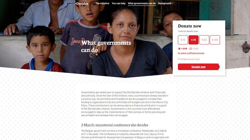 She Decides apela ao apoio dos governos, com dinheiro ou apoio político. Imagem: DR