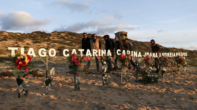 Homenagem aos seis alunos da Lusófona que morreram na praia do Meco no dia 15 de dezembro de 2013, durante uma praxe. Foto: DR